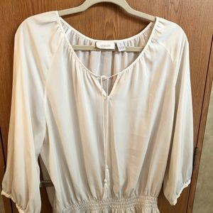 Chicos Ivory Peasant Top Size 3 Excellent Cond!